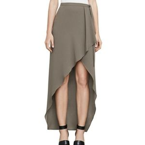 "BCBG Dusty Olive ""Roxy"" asymmetrical wrap skirt"